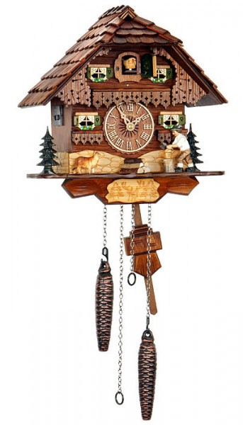 Cuckoo clock with a lumberjack