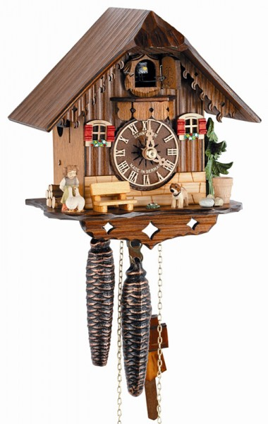 Young girl with 2 geese cuckoo clock