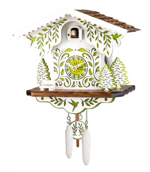 Chalet cuckoo clock in white and green