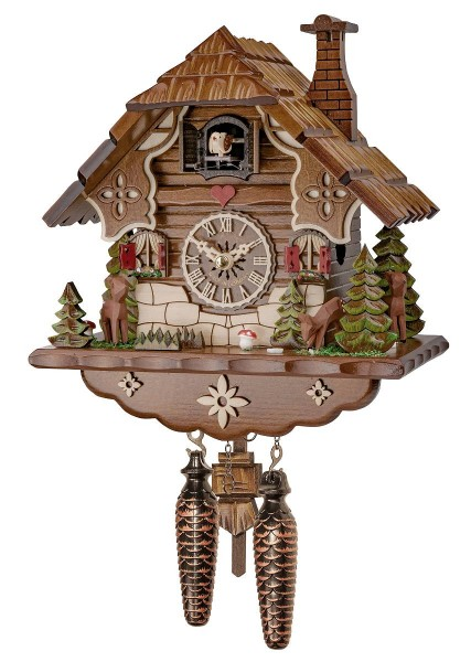 Black Forest cuckoo clock chalet with deer and red shutter windows