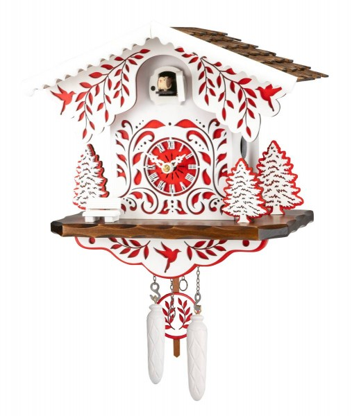 White and red colored cuckoo clock