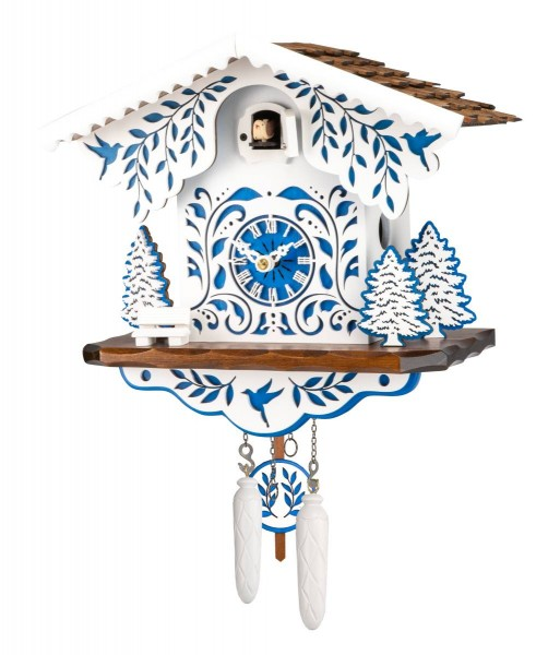 White and blue colored cuckoo clock