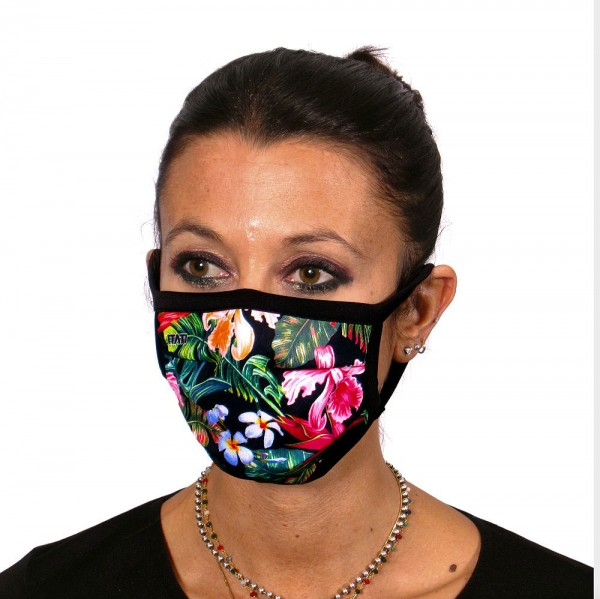 Face cover with tropical flowers design